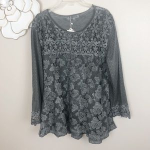 Simply Couture gray lace tunic